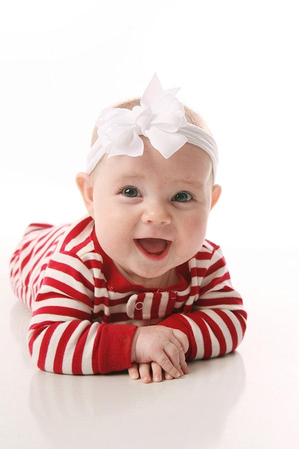 Baby wearing a cute headband