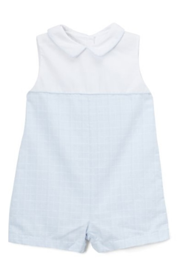 Blue and white shortalls for baby from Zulily