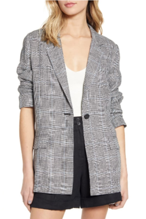 Gray plaid blazer for women