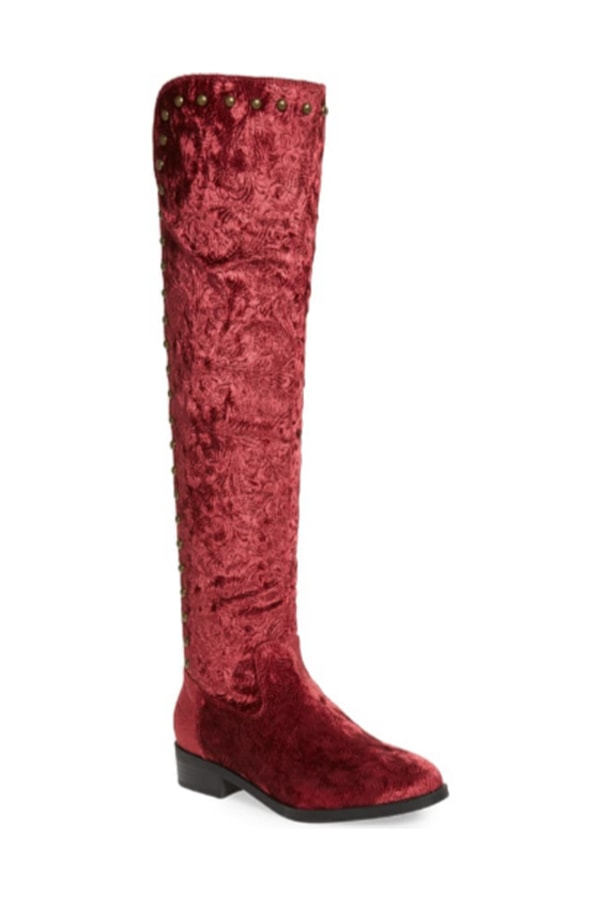 Wine-hued over-the-knee boots