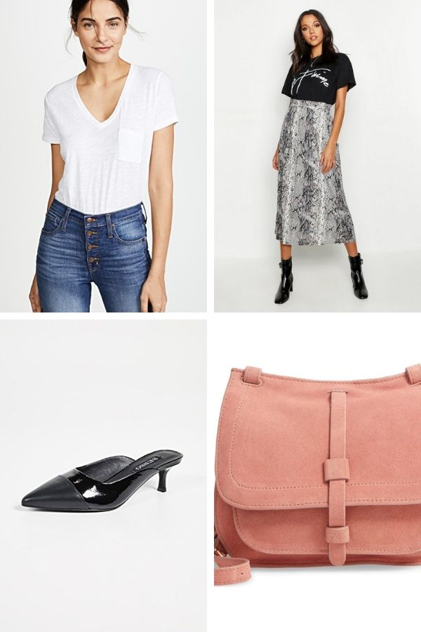 Outfit collage: midi skirt, white t shirt, patent mules and saddle bag