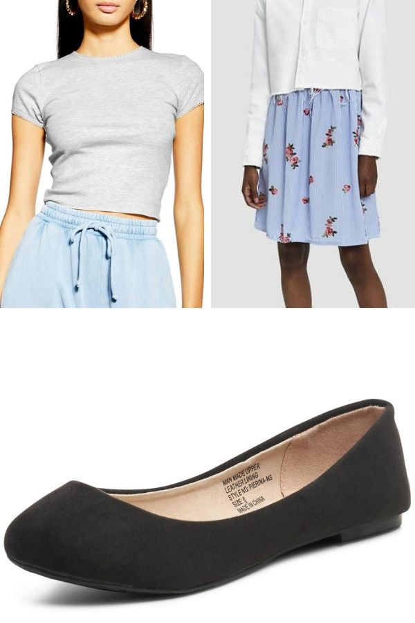 Outfit collage: belted patterned skirt, neutral top and black flats