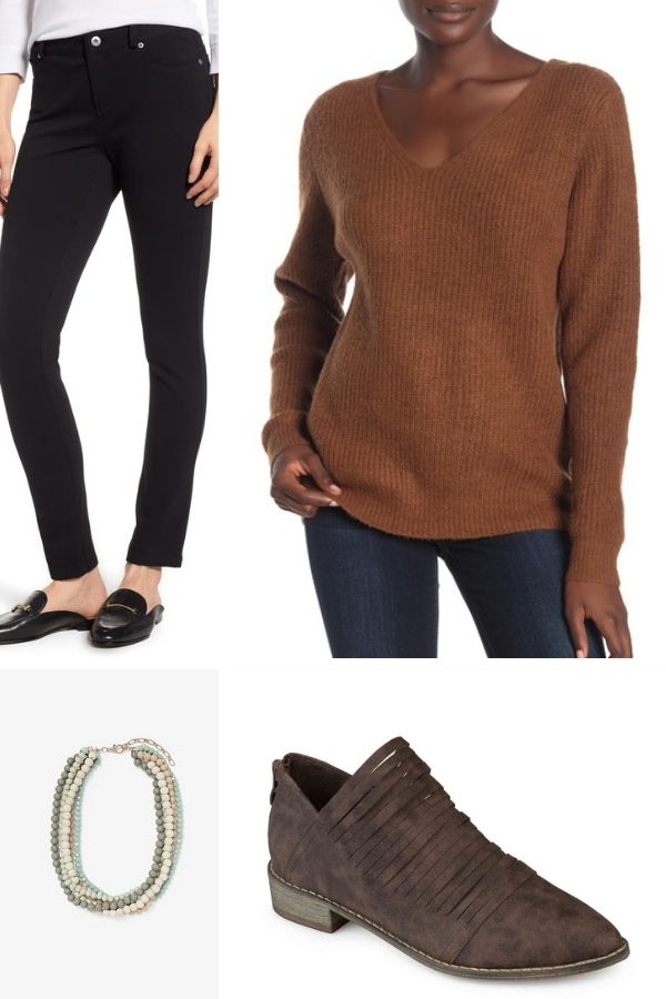 Outfit collage with ponte pants, sweater, beads and ankle boots