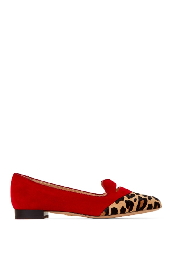 Red and leopard loafers