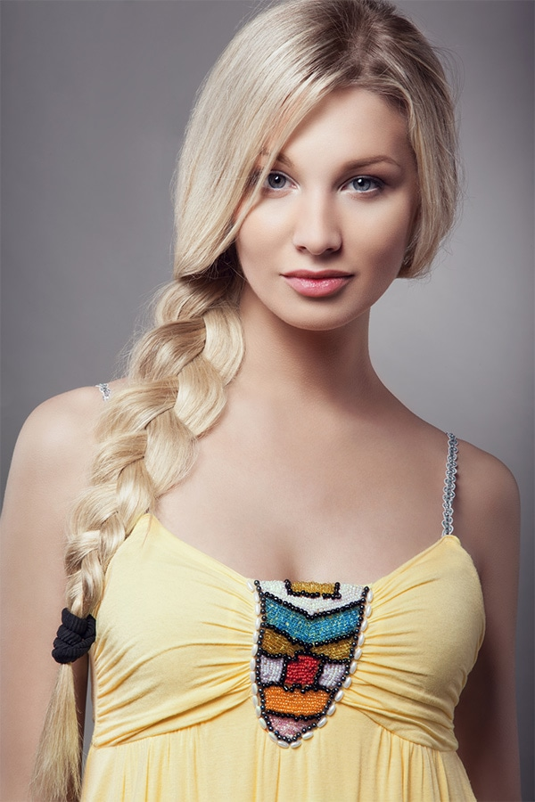Woman with loose braid