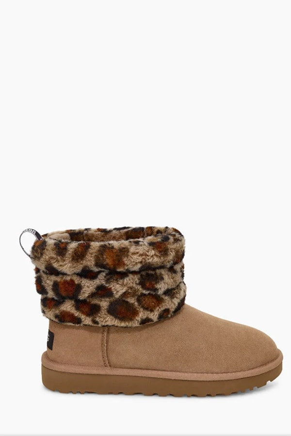 Fluff mini quilted leopard ugg boot