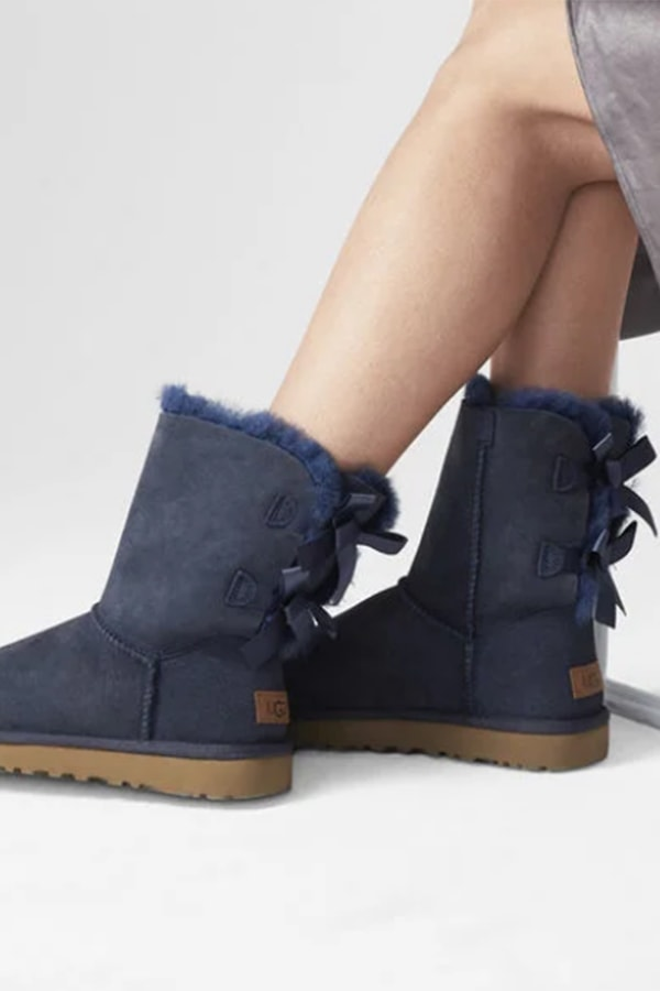 Blue Ugg boots with bow