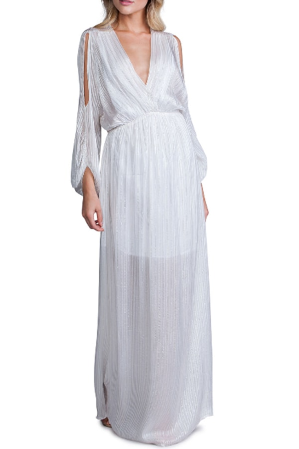 White flowing maxi dress