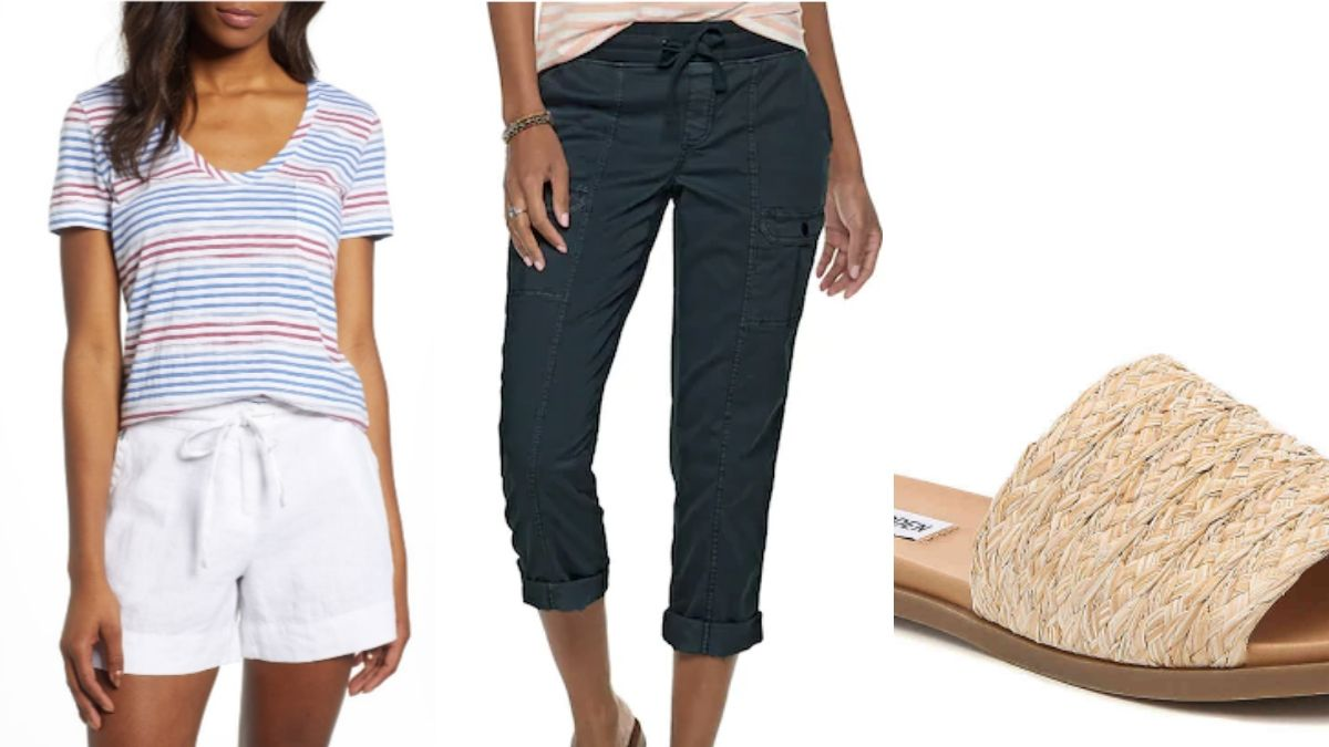 Outfit collage for women over 50: capris, striped t shirt and sandals!