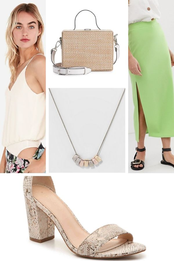 Outfit collage: midi skirt, bodysuit and heeled sandals for petites