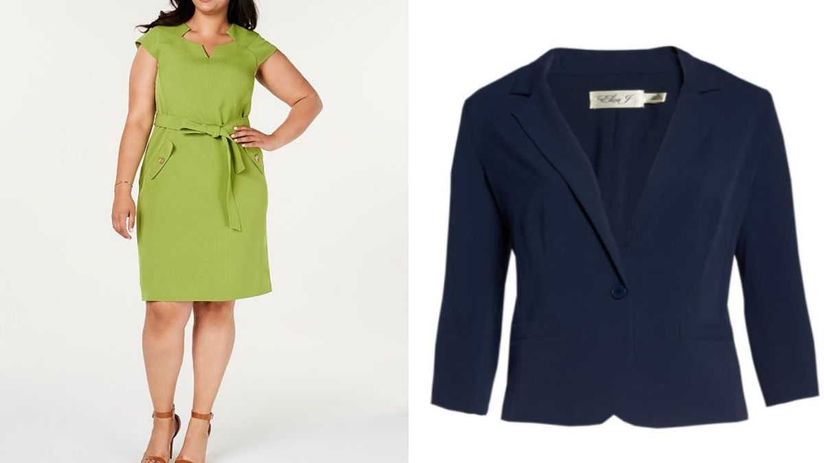 Plus size sheath dress and blazer