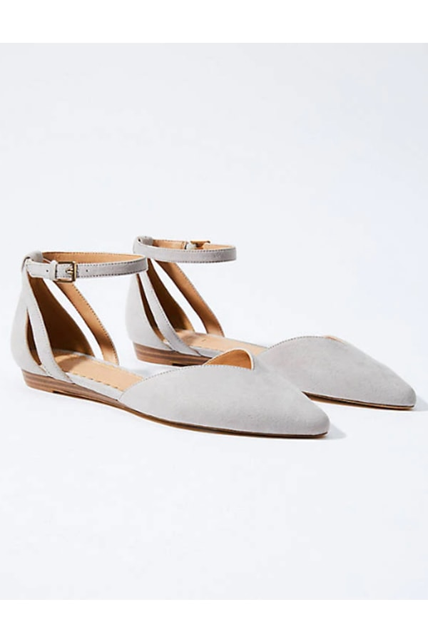 Grey ankle strap flats