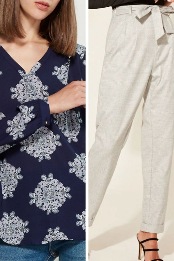 Belted trousers and patterned blouse
