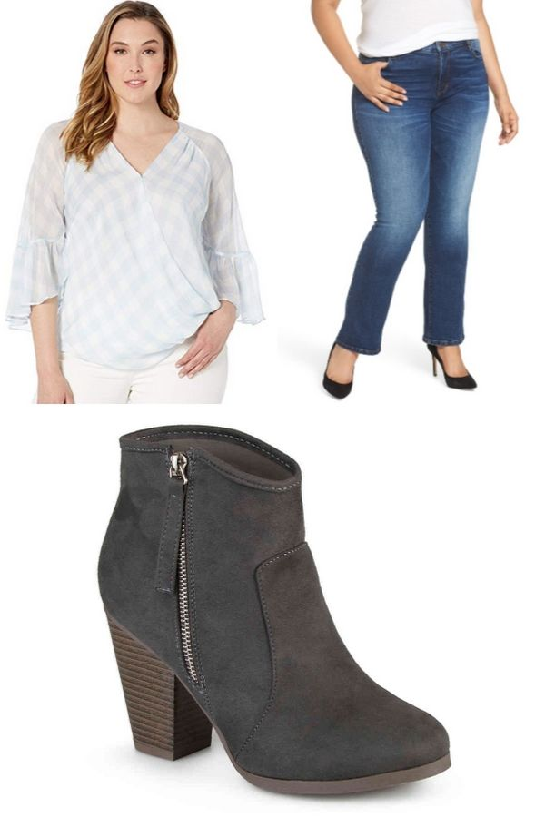 Blouse, jeans and ankle boots