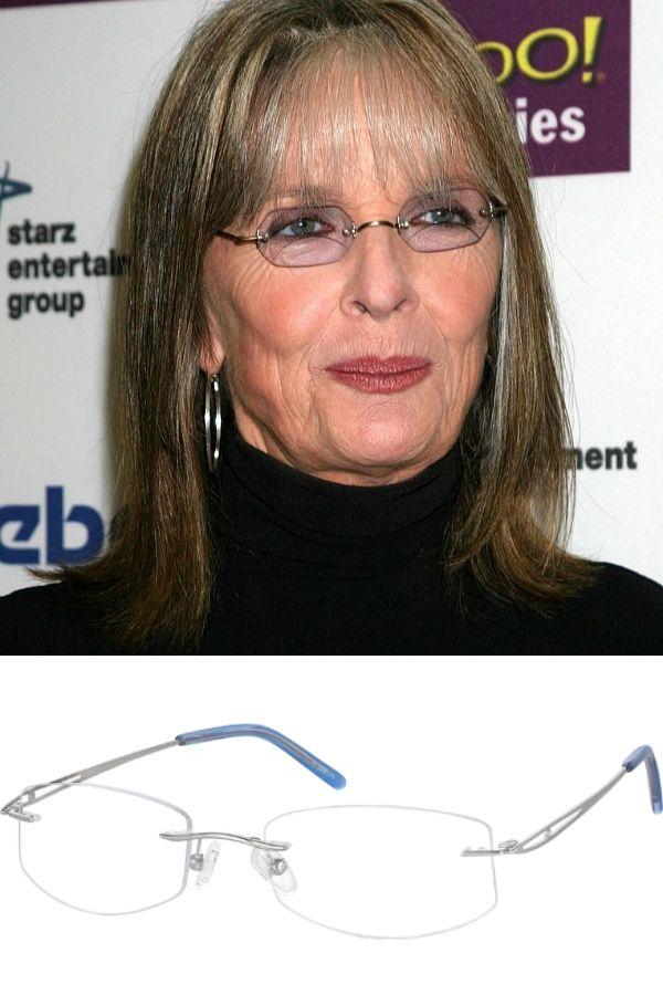 Diane Keaton wearing rimless, geometric glasses.