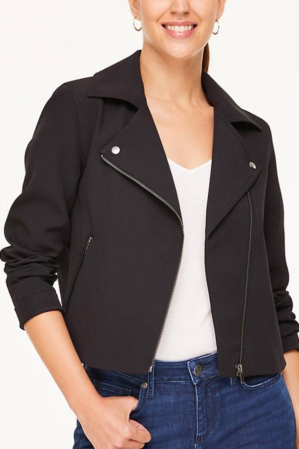 Black fabric moto jacket