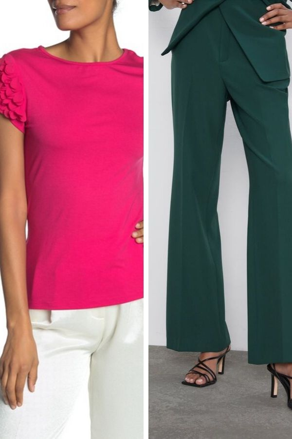 Pink top paired with forest green pants