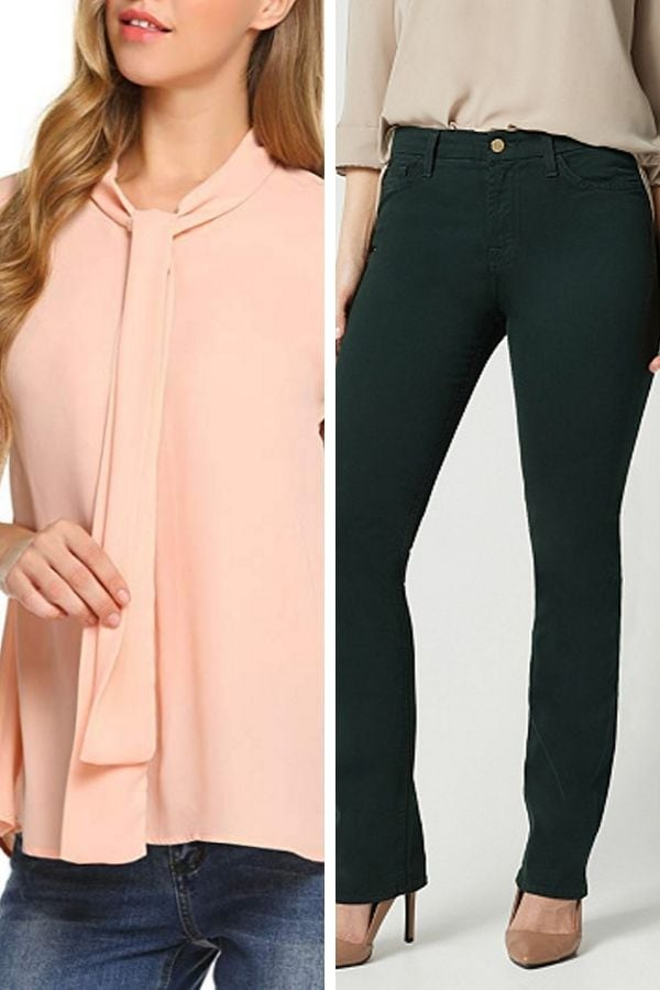 A soft peach blouse paired with dark green pants