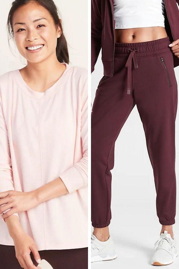 Soft peach sweatshirt and burgudy pants