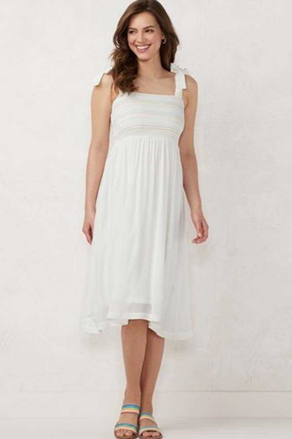 White smocked dress from kohl's clearance