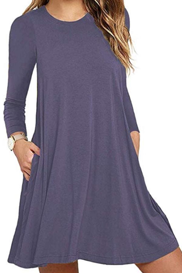 Long-sleeve swing dress