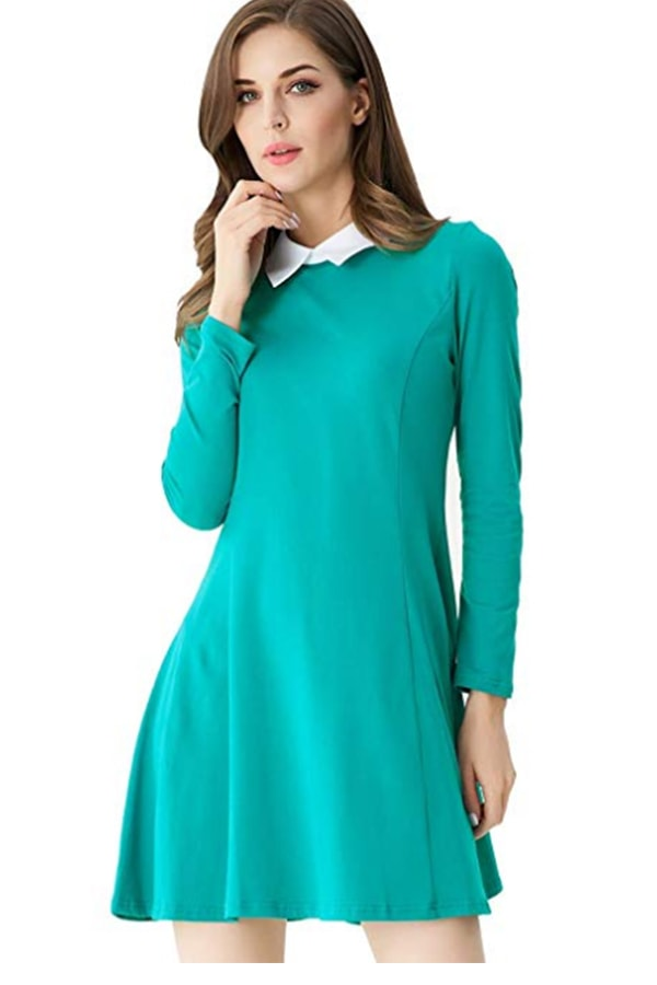 Green fit and flare dress with white collar