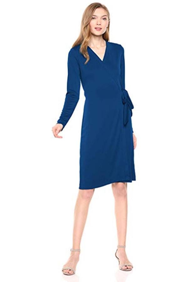 Blue wrap dress from Amazon