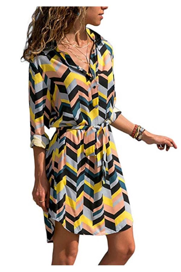 Patterned, long sleeve dress