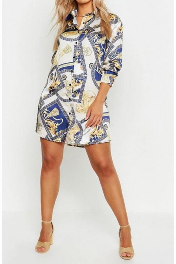 Plus Chain Printed Satin Shirt Dress