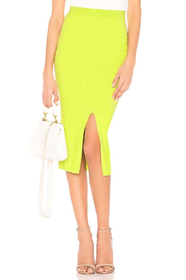 Lime midi skirt