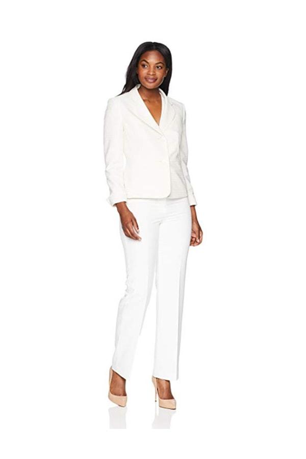 White woman's suit