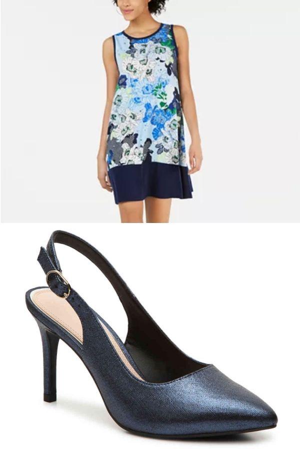 Shift dress and slingback heels