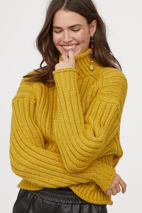 Mustard heavy knit sweater from H&M Conscious Collection