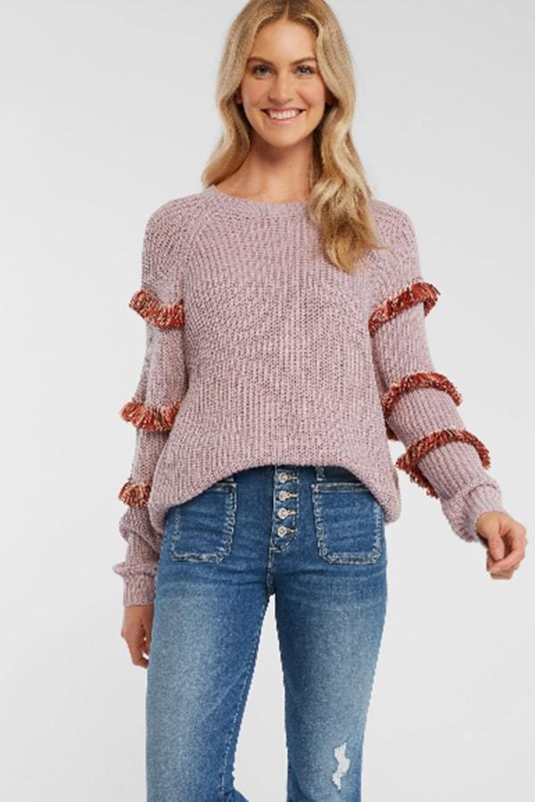 Lavender fringe sweater