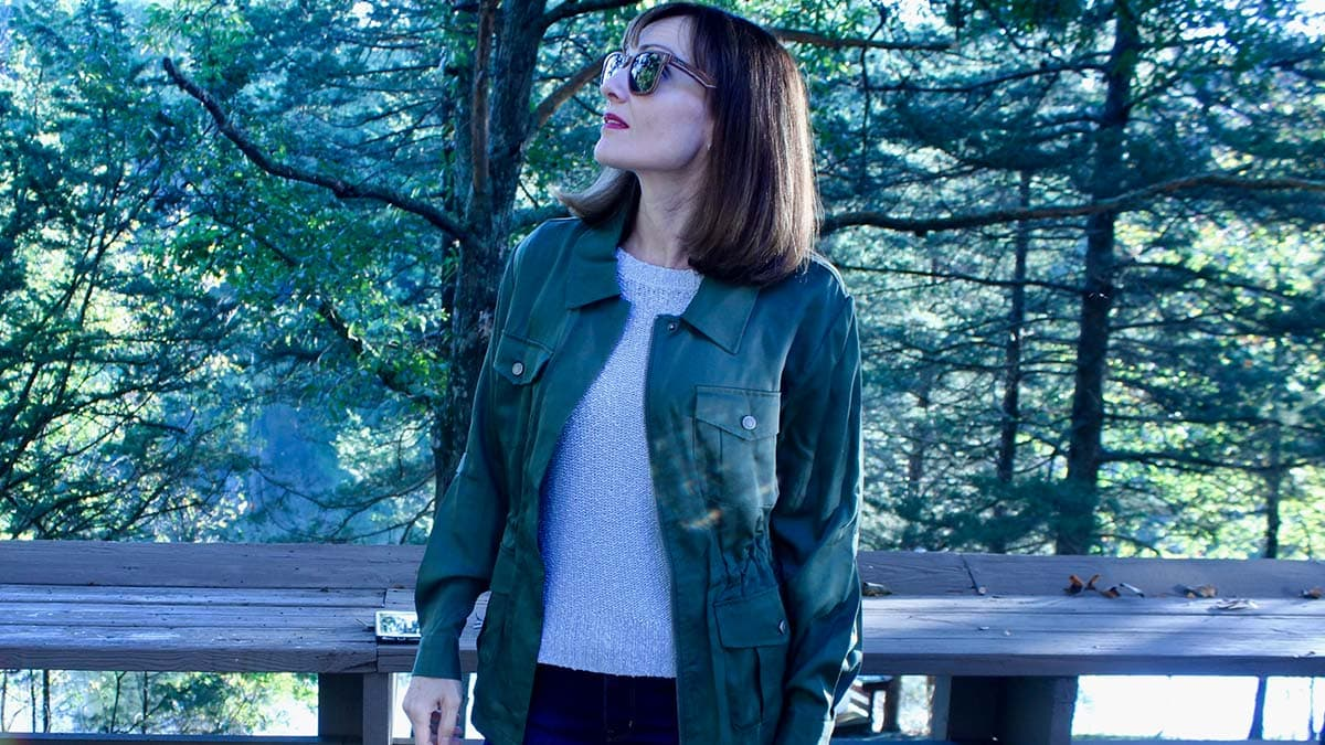 Catherine Brock wearing wood sunglasses by Jord