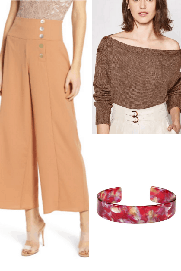 Outfit collage with wide-legged pants and off-shoulder sweater