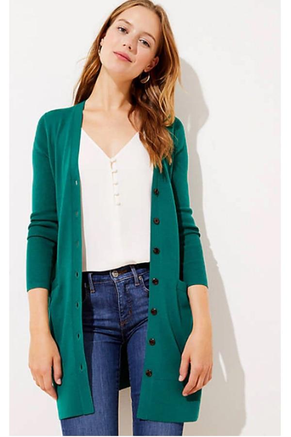 Long green cardigan from LOFT