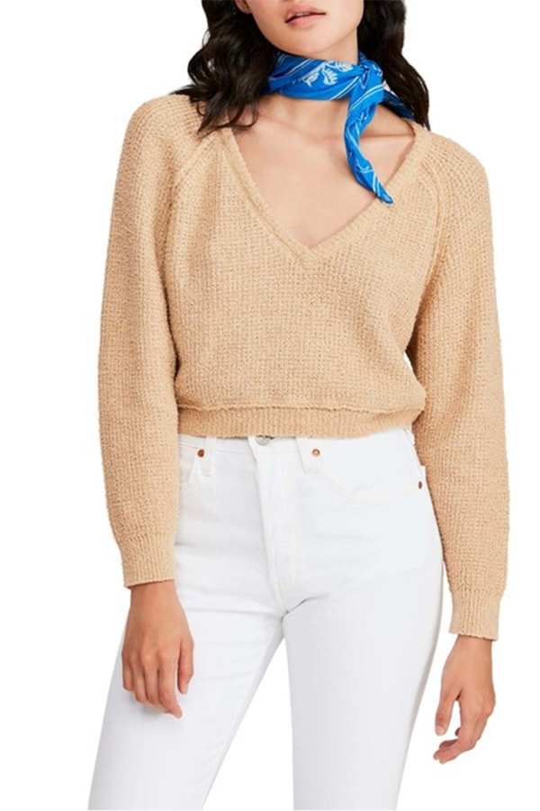 Free People V neck cropped sweater