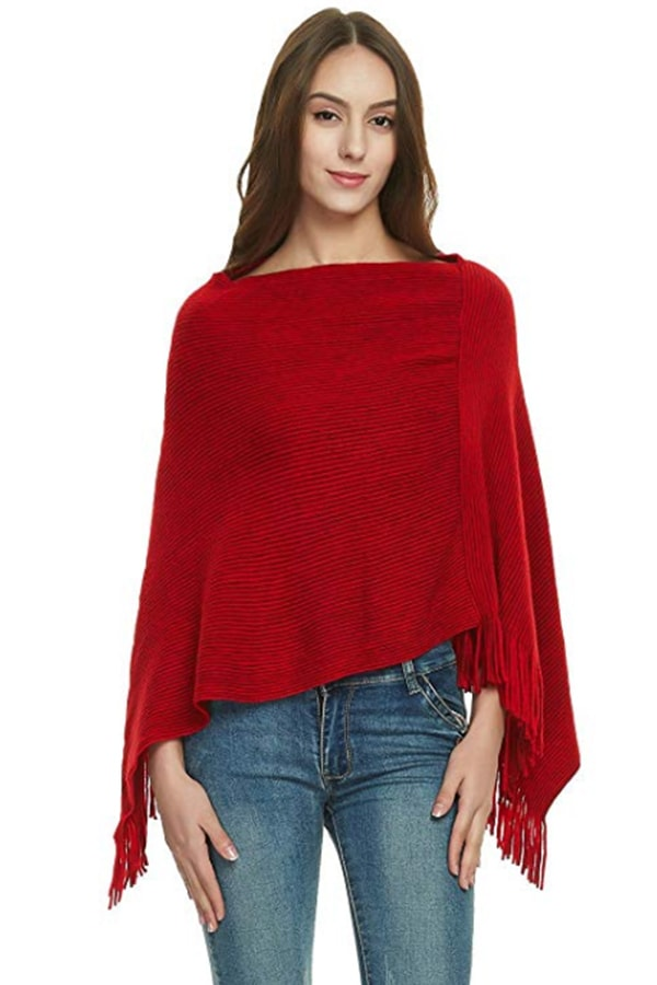 Woman wearing red knit cape