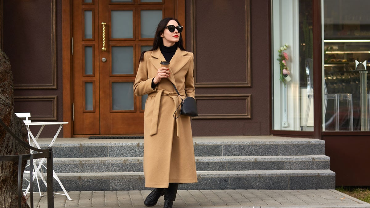 Woman wearing long coat