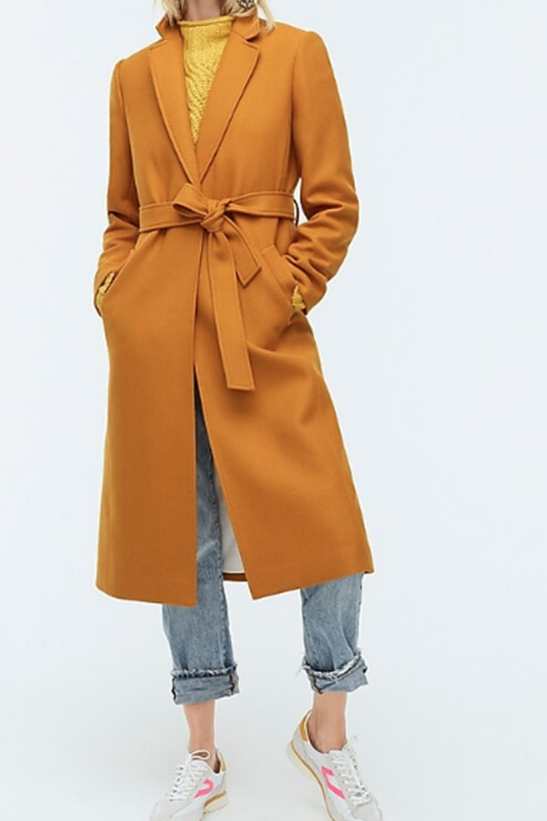 Mustard long coat from J Crew
