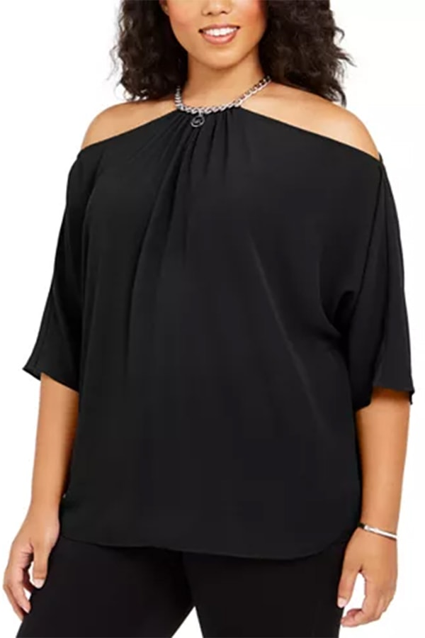 Black blouse with chain detail at the neck