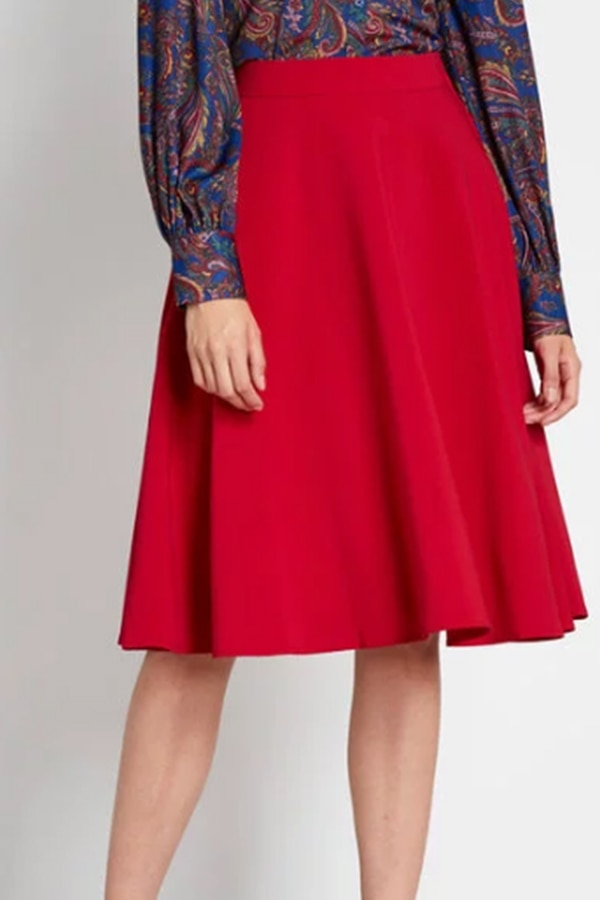 Red A-line skirt from Modcloth
