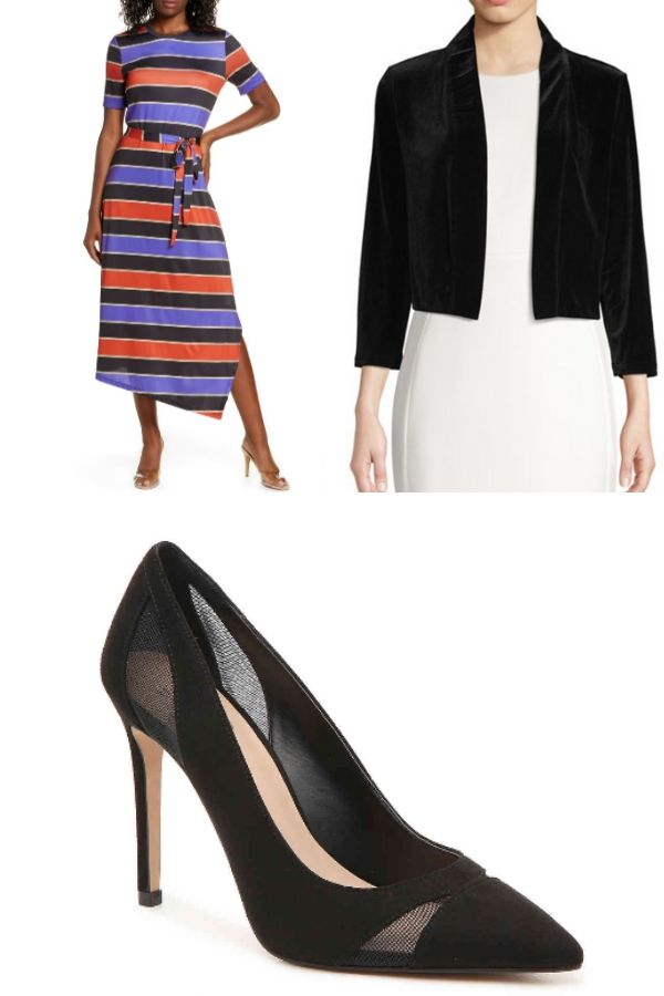 Outfit collage with midi dress, cropped jacket and heels