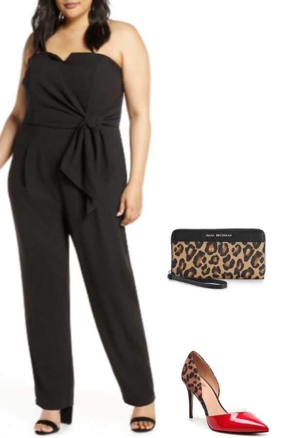 Outfit collage of plus-size jumpsuit with leopard print heels