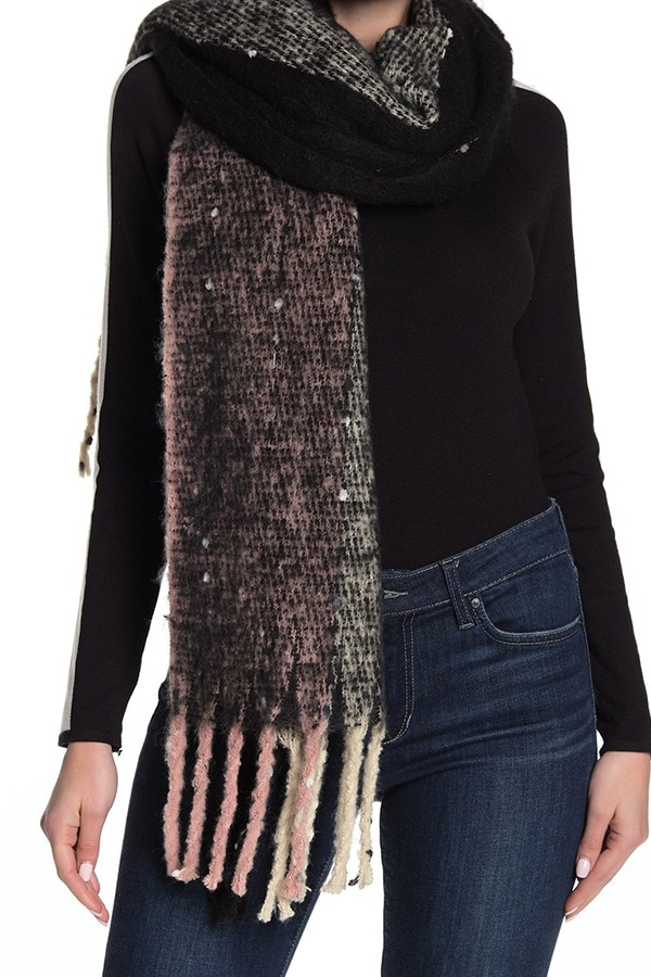 Brushed stripe knit scarf