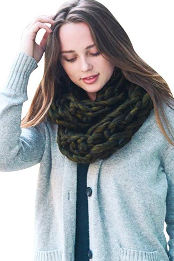 Olive green infinity loop scarf