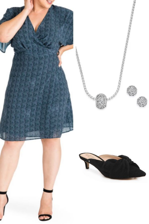 Outfit collage with flowy dress and mules