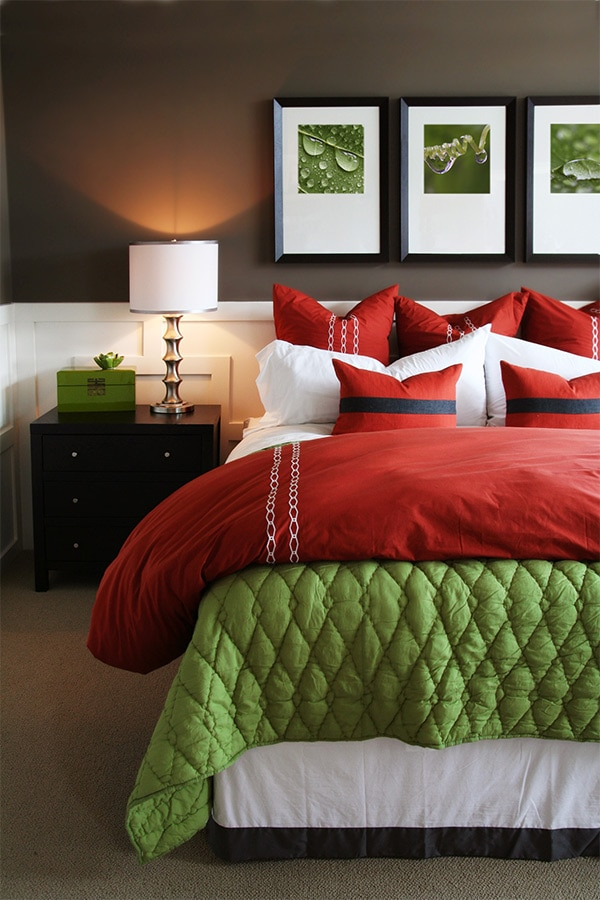 Bedroom with colorful bedding