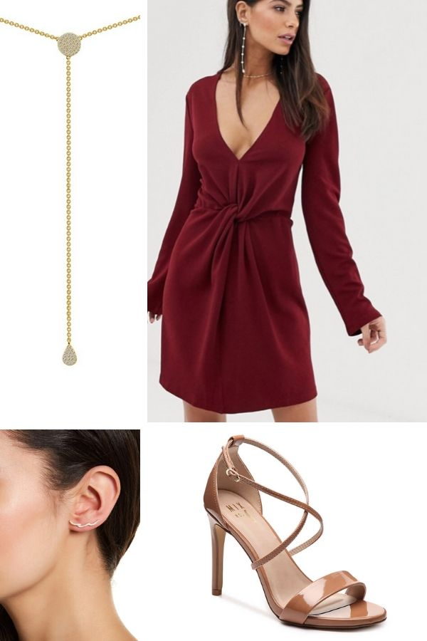 Outfit collage featuring tie-front dress, jewelry and shoes